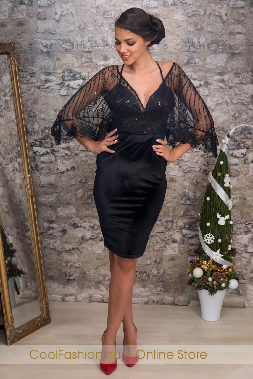 2e56f461d7 Bő ujjú fekete bársony ruha - Cool Fashion