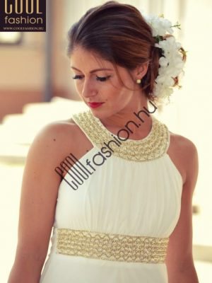 ekrü görög muszlin maxi ruha