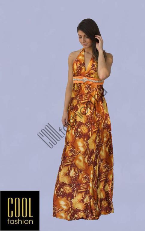 Narancs szatén ruha - Cool Fashion c6e4614217