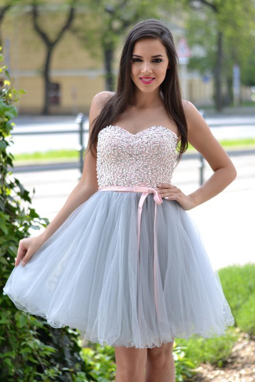 Köves púder-szürke tüll ruha - Cool Fashion bb65b71d58