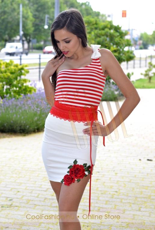 347271ad0d Piros-fehér csikos féloldalas felső - Cool Fashion