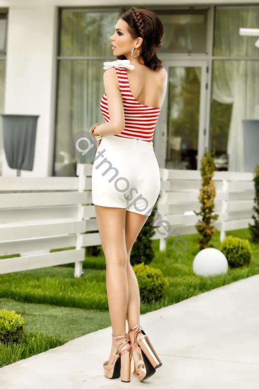 Piros-fehér csikos féloldalas felső - Cool Fashion 12dda9f064