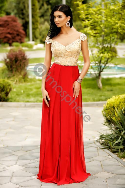 bc99ea9b8f Piros-arany görög maxi ruha - Cool Fashion