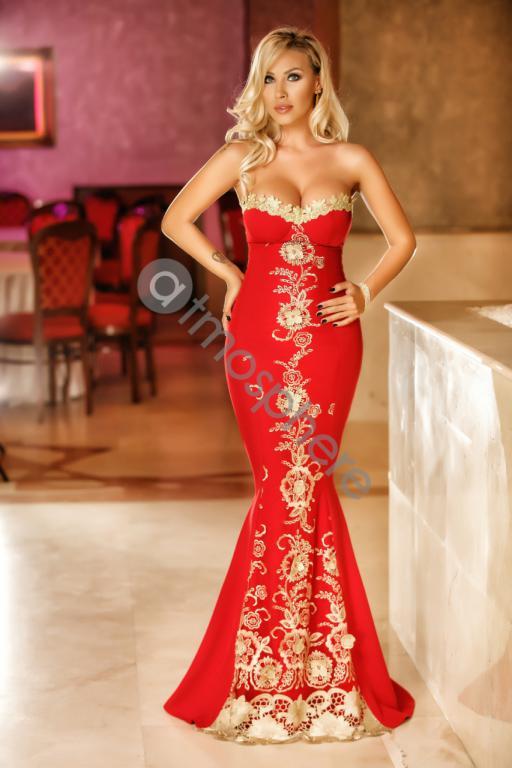 Piros-arany sellő maxi ruha - Cool Fashion 5e5302d1c4