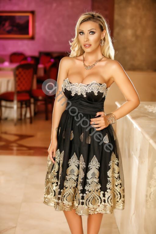 Fekete-arany csipkés midi tüll ruha - Cool Fashion dbe177a411