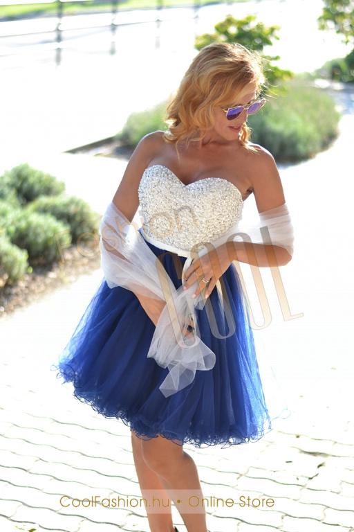 d0b0f71807 Köves fehér-kék tüll ruha - Cool Fashion