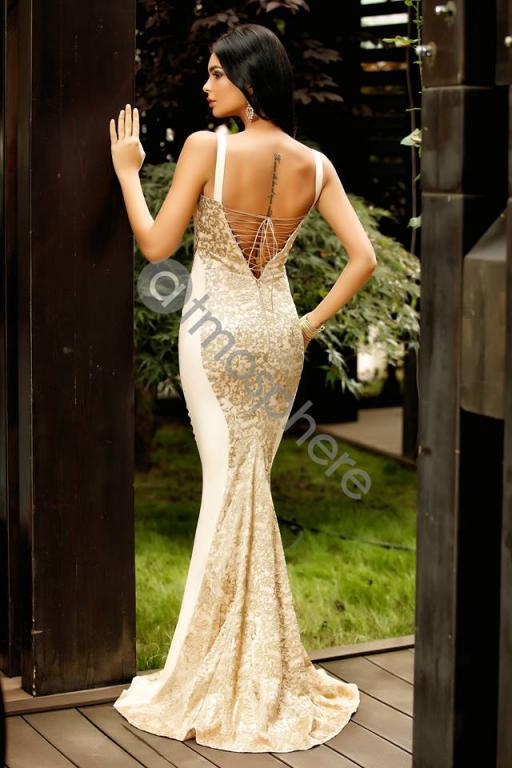 25d79c20d5 Arany-bézs sellőmaxi ruha - Cool Fashion