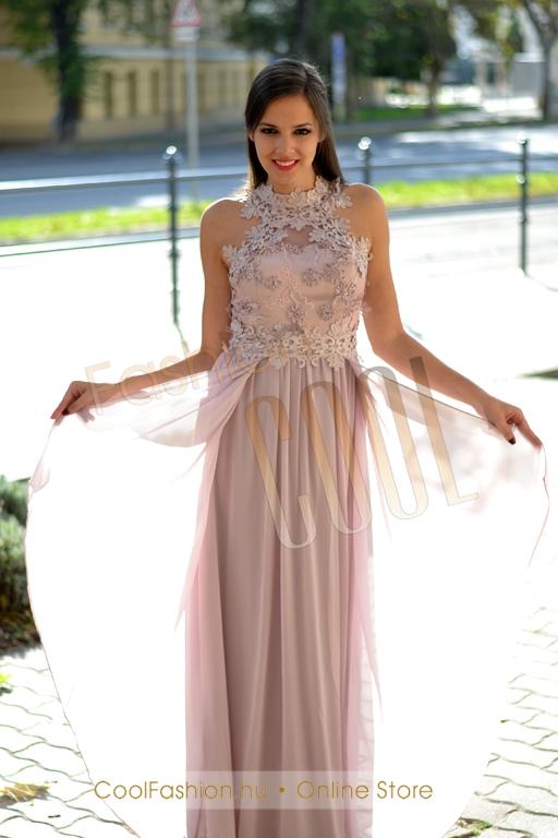 Egyedi horgolt csipkés muszlin maxi ruha - Cool Fashion 6abce5190c