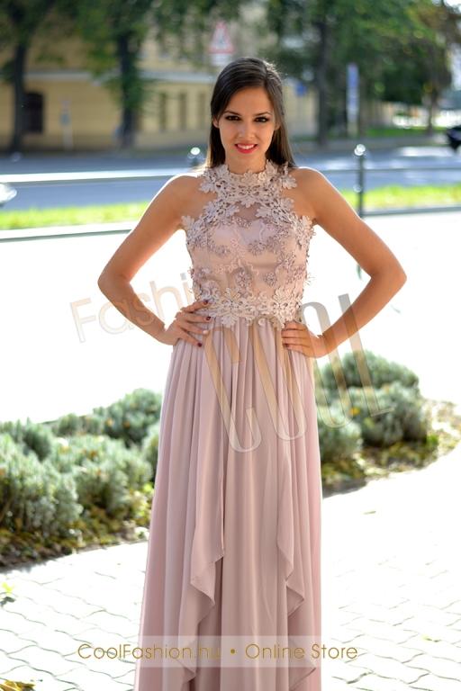 Egyedi horgolt csipkés muszlin maxi ruha - Cool Fashion 667122588b