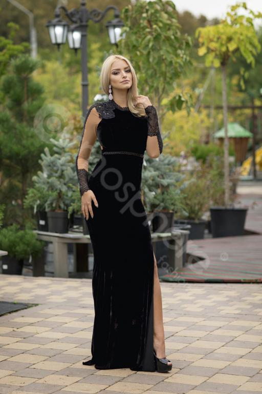 fc8871fdf6 Fekete bársony maxi ruha - Cool Fashion