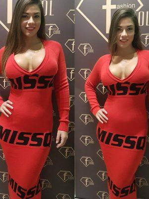 piros fekete kotott maxi ruha