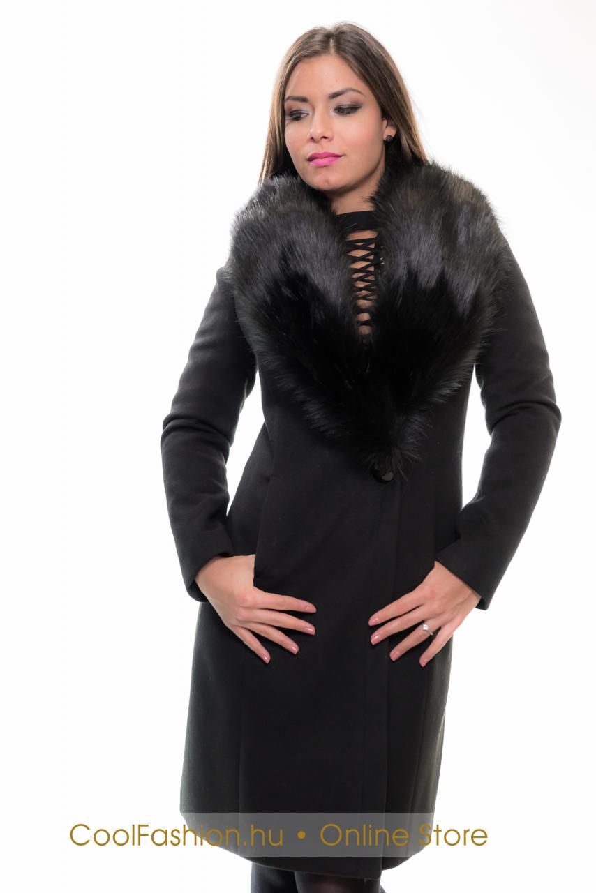Szőrme galléros szövet kabát - Cool Fashion d5aa98892d