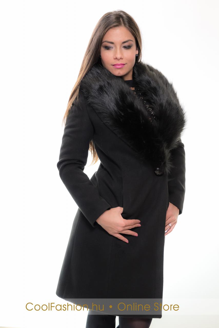 Szőrme galléros szövet kabát - Cool Fashion dd32eca09d