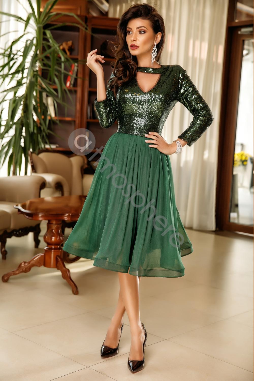 Méregzöld flitteres tüll midi ruha - Cool Fashion 4894217c74