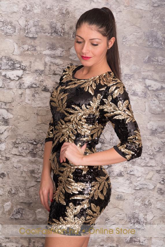 9bd2d12934 Fekete-arany flitteres ruha - Cool Fashion
