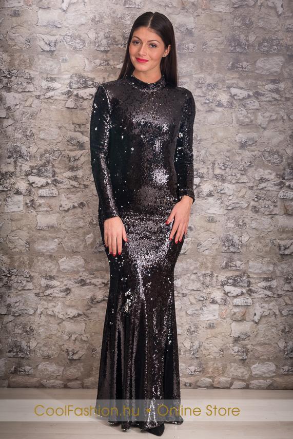 4077d1dd86 Fekete flitteres maxi ruha - Cool Fashion