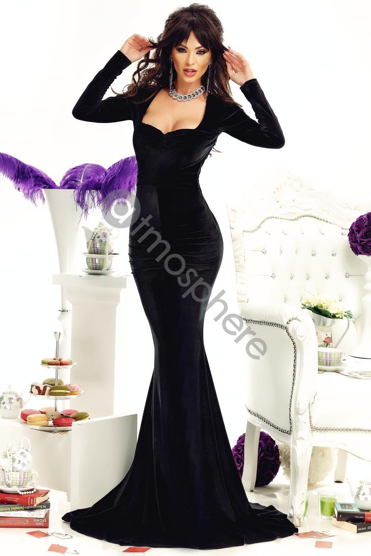 Fekete-ezüst bársony sellő maxi ruha - Cool Fashion 3dec95b690