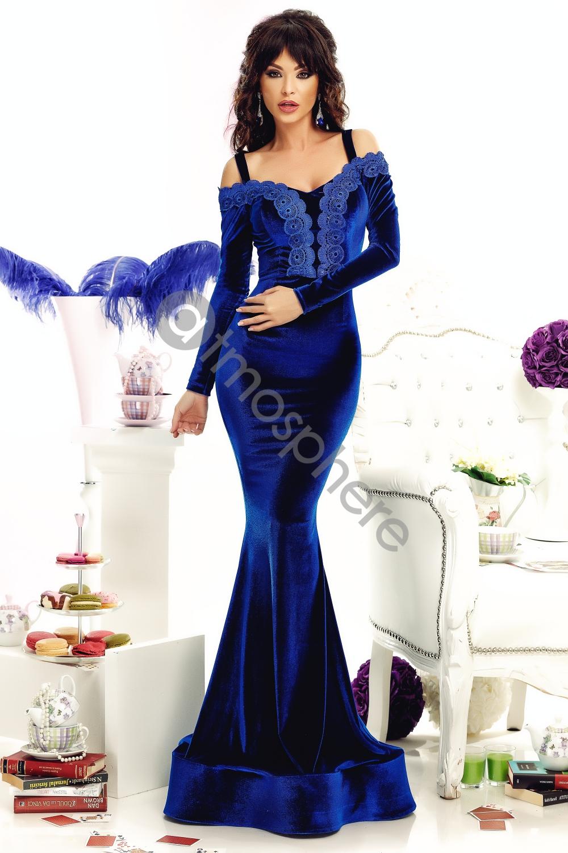 35c6130fa0 Királykék bársony maxi ruha - Cool Fashion