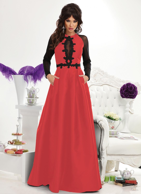 3409729cd0 Piros-fekete taft maxi ruha - Cool Fashion