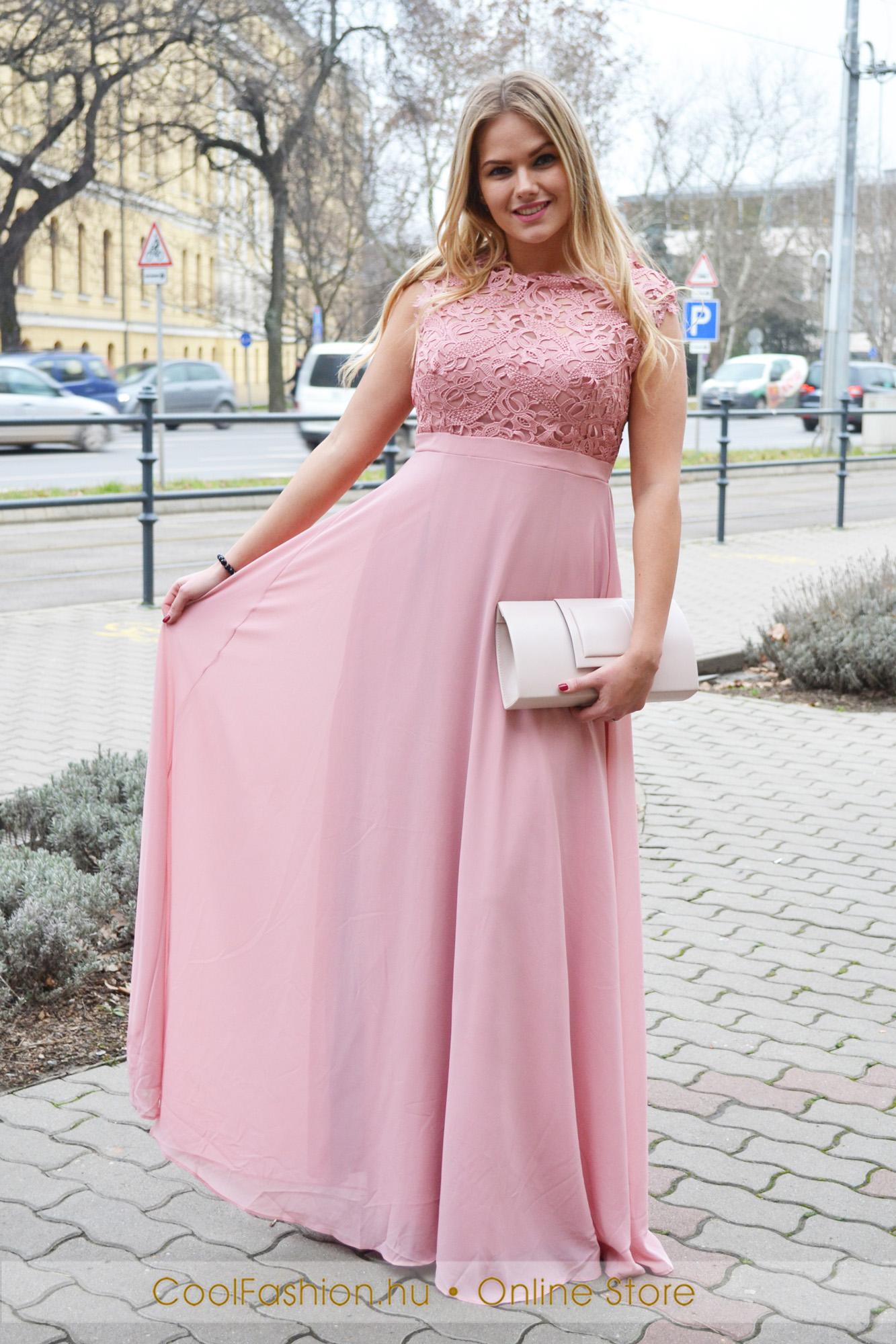 2b83f494e0 Nagyméretű felül csipkés muszlin maxi ruha - Cool Fashion