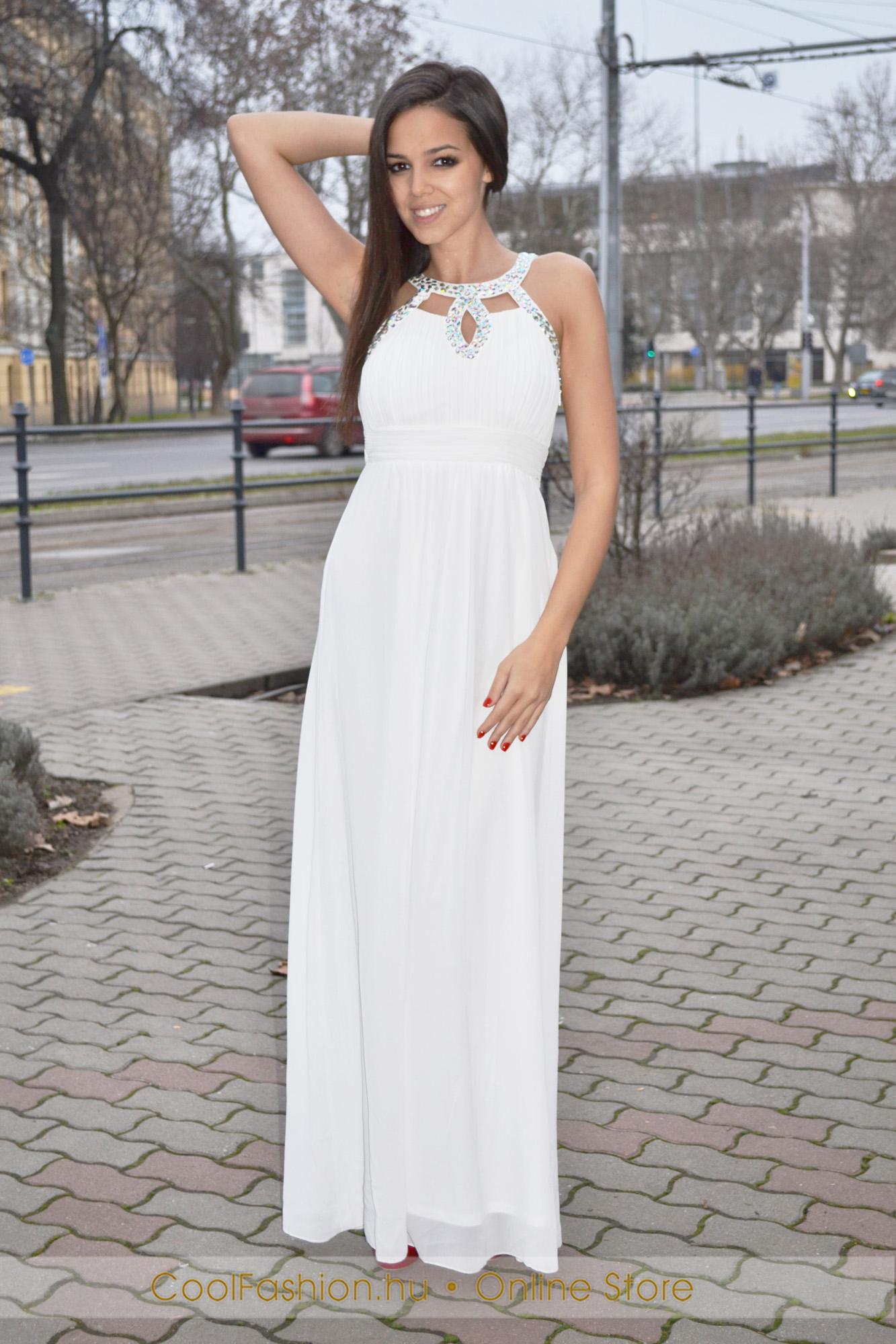 cb2c479d34 Fehér muszlin köves maxi ruha - Cool Fashion