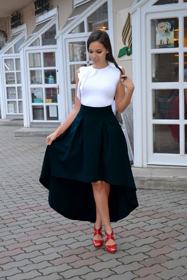 Elől rövidebb tüllös maxi vászon szoknya - Cool Fashion a2a00215b2