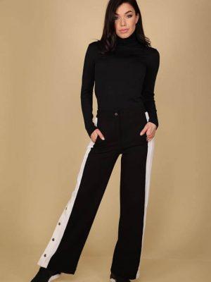 fekete fehér patentos nadrág pamut la pierre