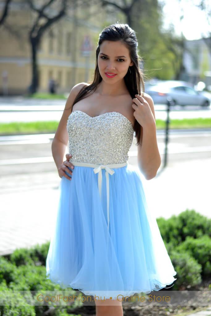 1b72a823b5 Köves fehér-babakék tüll ruha - Cool Fashion
