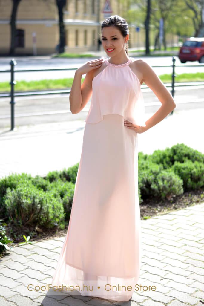 263d840681 Púder gyöngyös fodros muszlin ruha - Cool Fashion