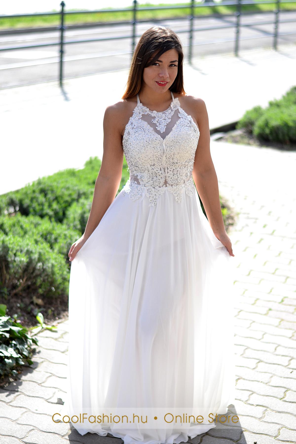 Köves hímzett fehér maxi ruha - Cool Fashion 09be7baee3