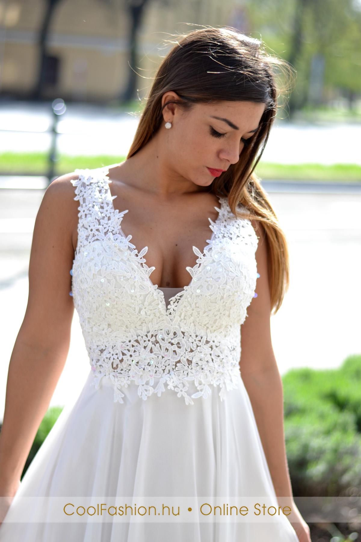 27f593d96e70 Csipkés flitteres fehér muszlin maxi ruha - Cool Fashion