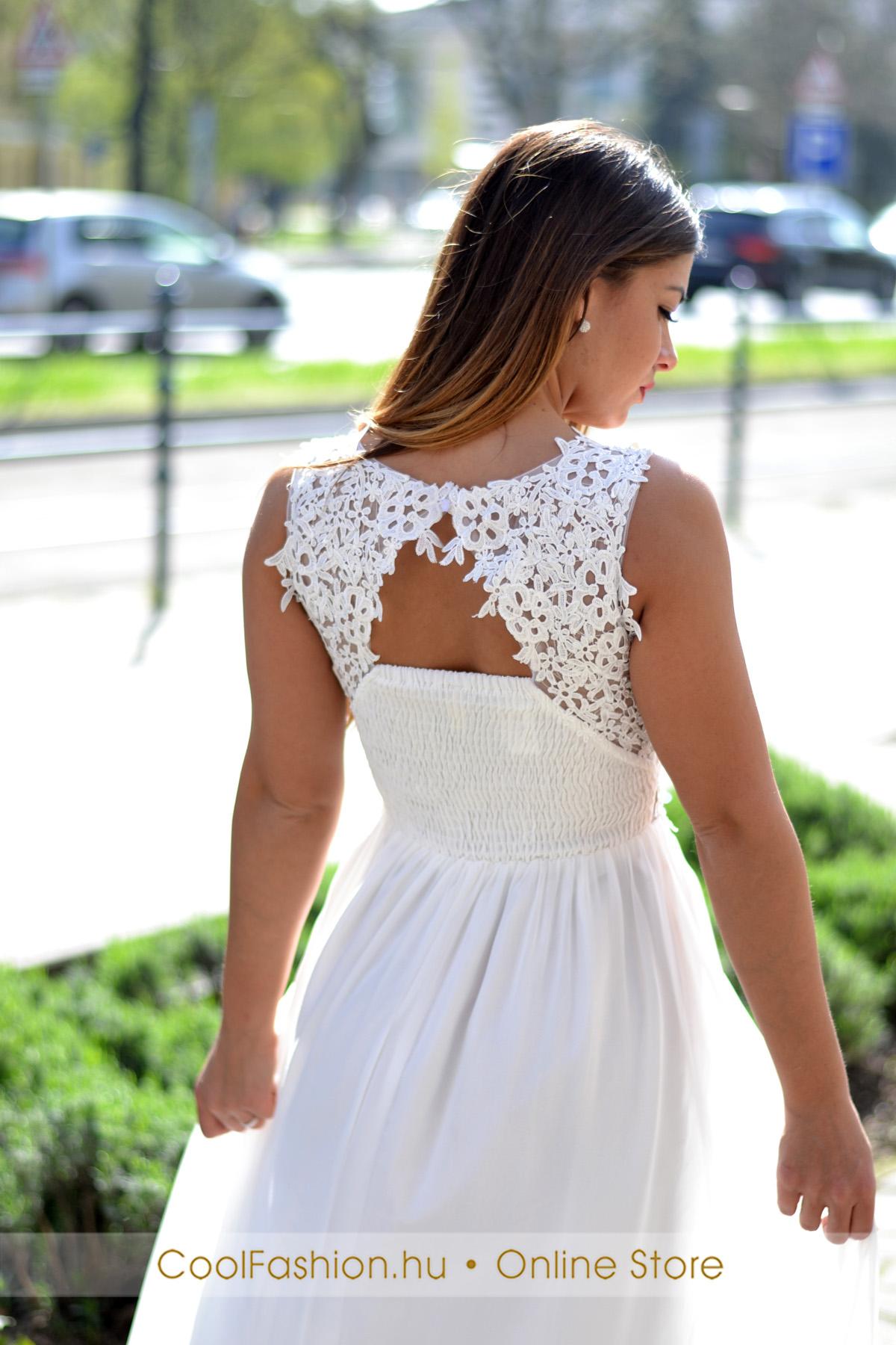 fe6fc75ce0 Csipkés gyöngyös fehér muszlin maxi ruha - Cool Fashion
