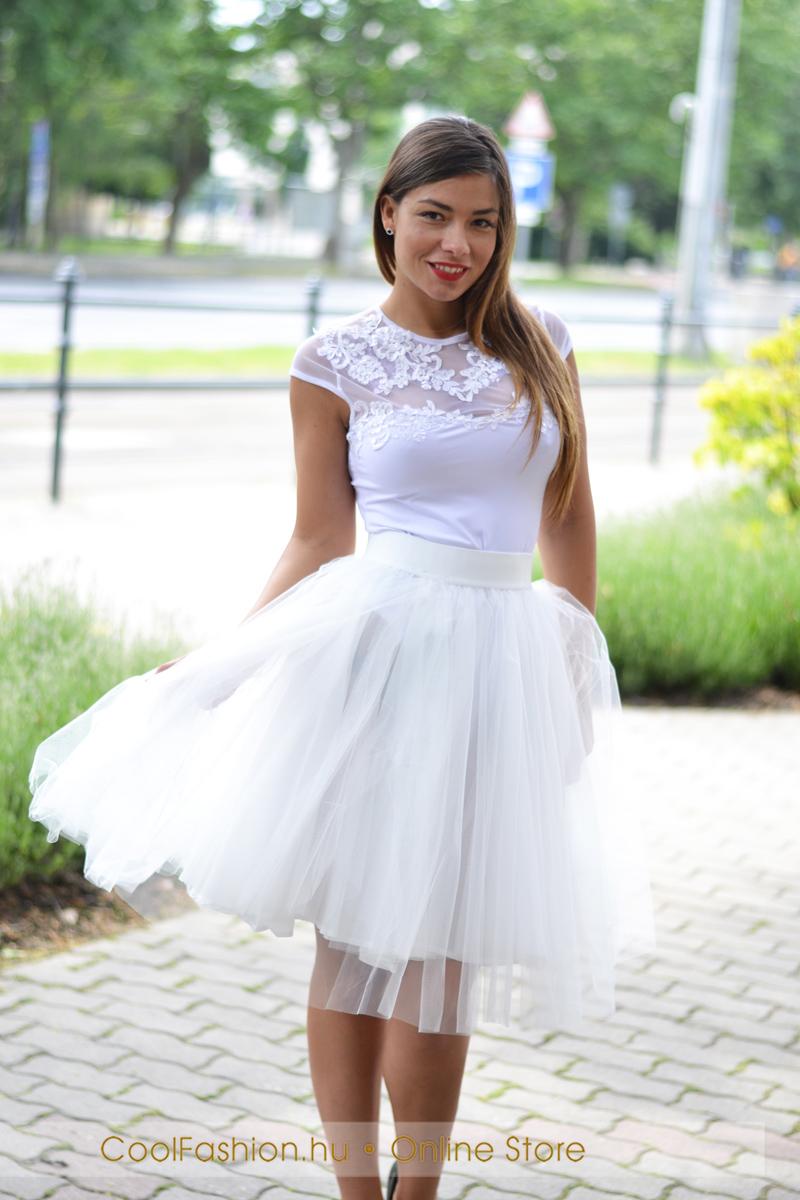 4174bc892a Midi fehér tüll szoknya - Cool Fashion