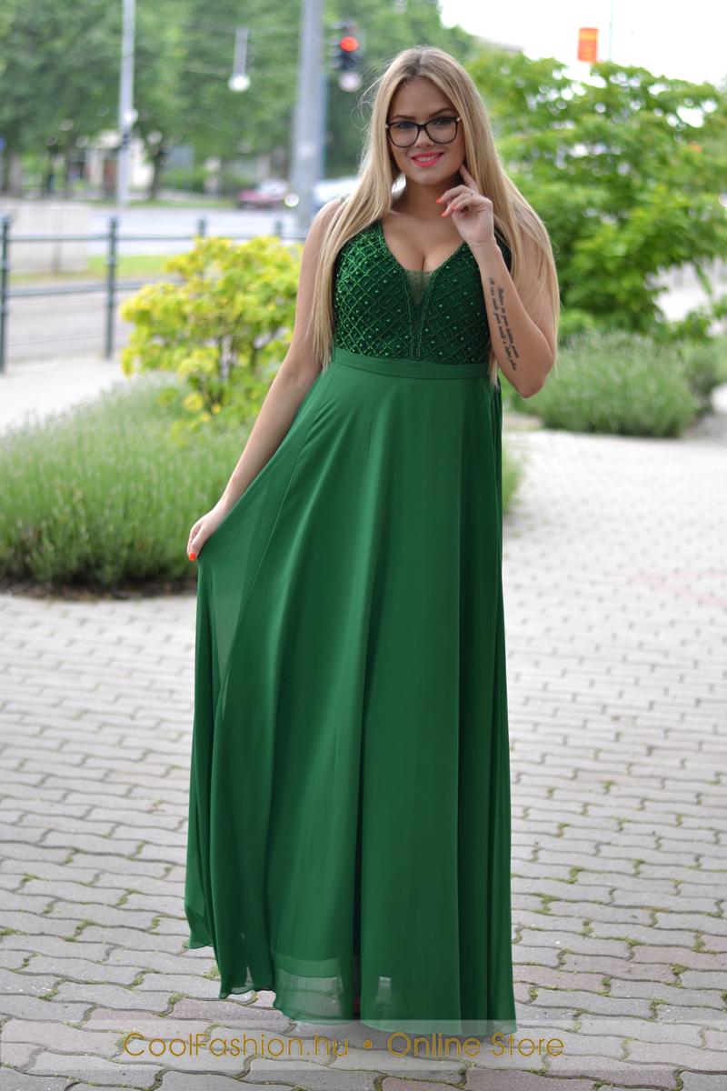 9dd4fbc2ad Borsó zöld gyöngyös maxi ruha - Cool Fashion