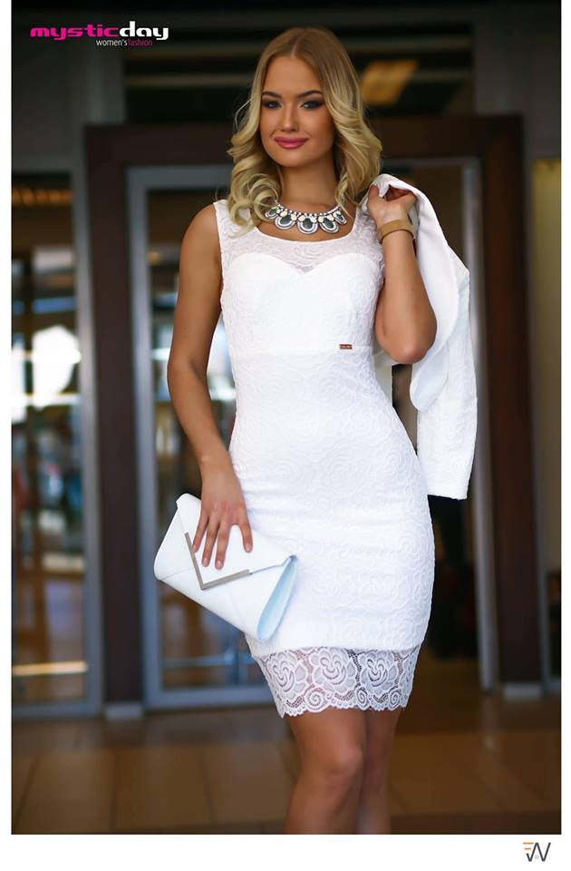 22da27ad4c Csipkés fehér ujjatlan ruha - Cool Fashion