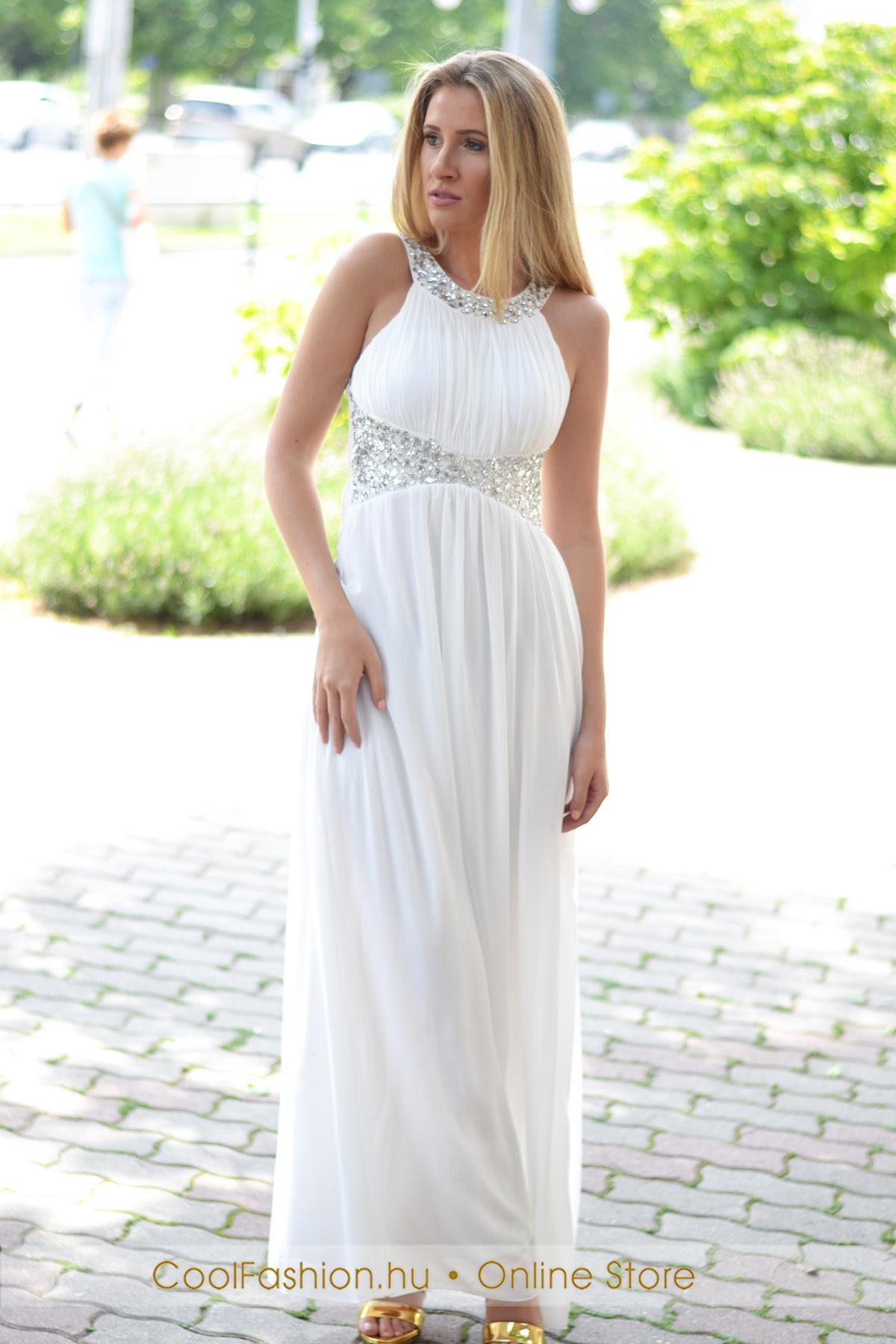 deda5a7d4 Köves fehér görög maxi ruha