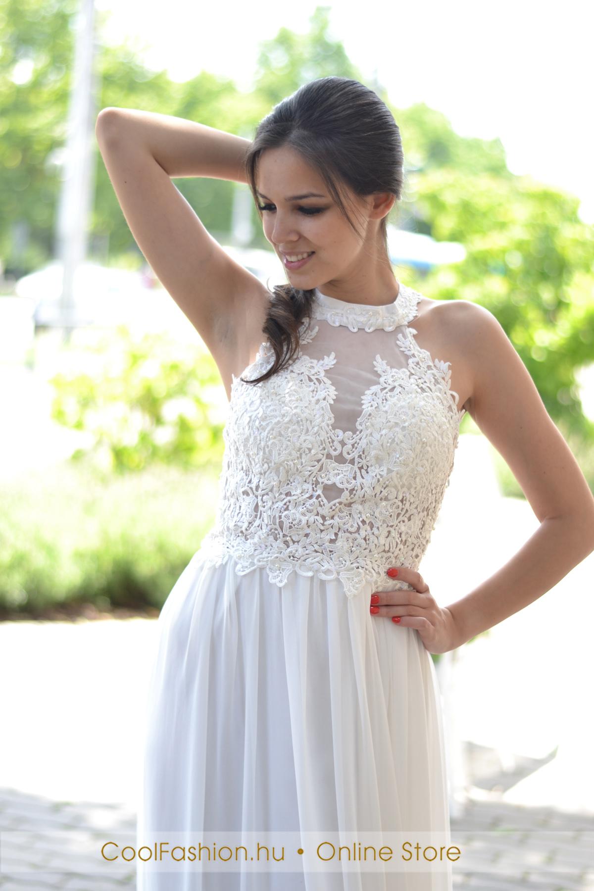 Fehér görög csipkés muszlin maxi ruha - Cool Fashion 6d1773a849