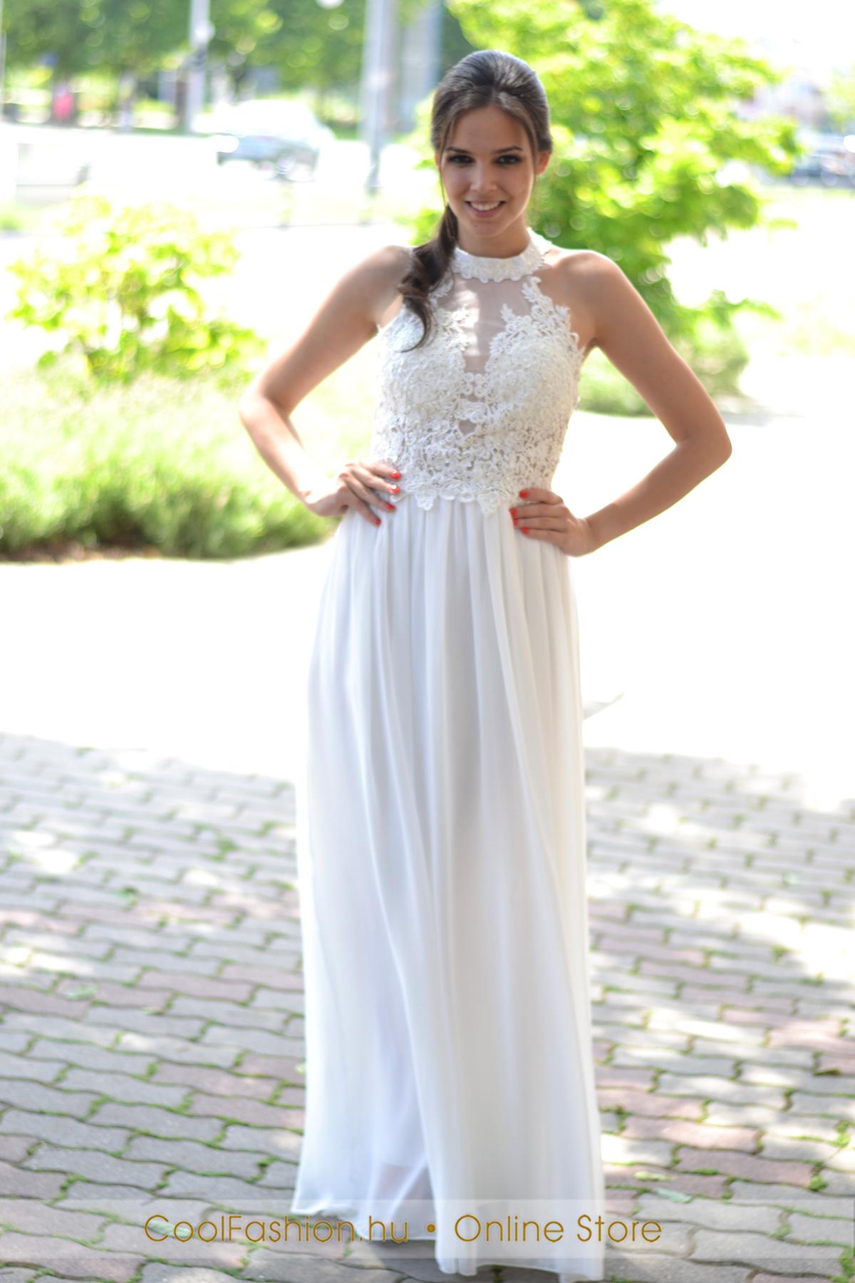 Fehér görög csipkés muszlin maxi ruha - Cool Fashion c10b412508