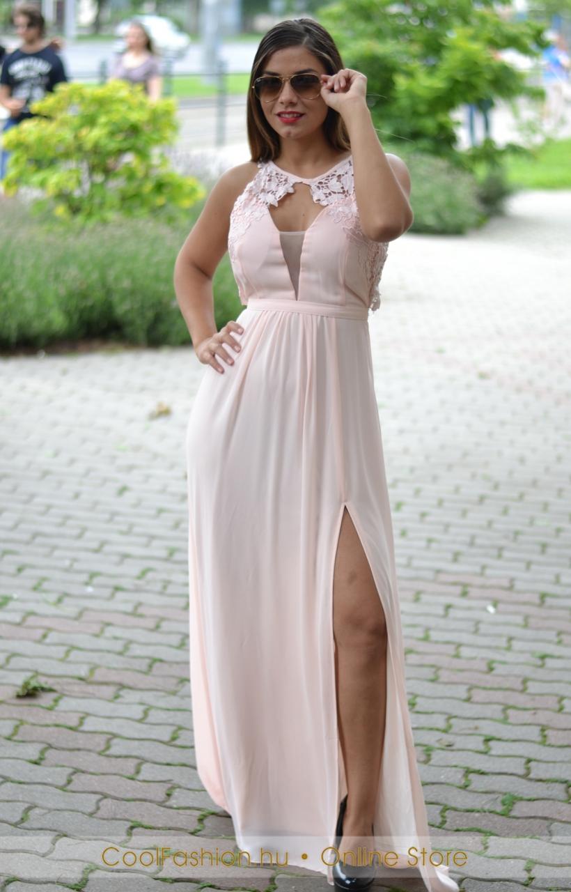 Muszlin maxi ruha felül csipkés - Cool Fashion 8d1b388dcb