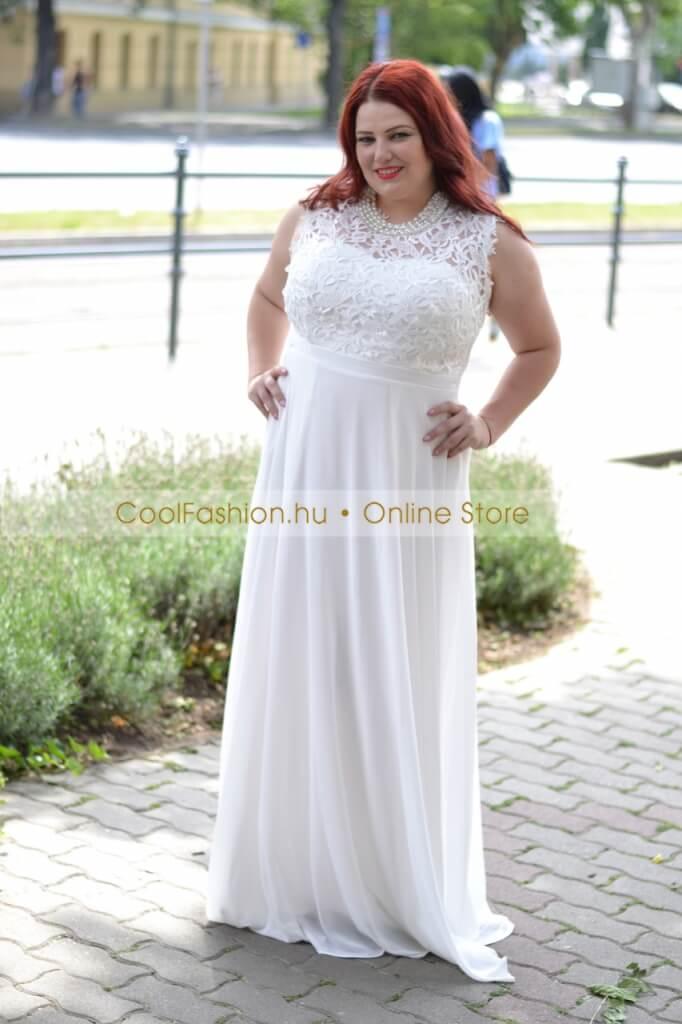 58dfe3f090 Nagyméretű krém/ fehér csipkés muszlin maxi ruha - Cool Fashion