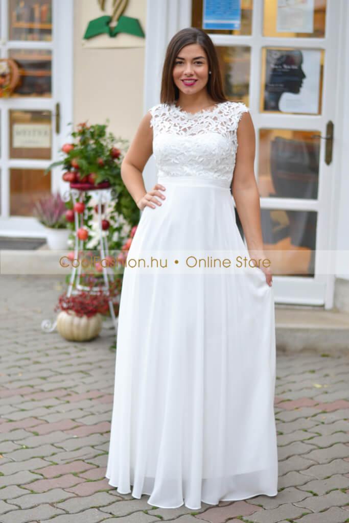73379a6472 Felül csipkés fehér muszlin maxi ruha - Cool Fashion