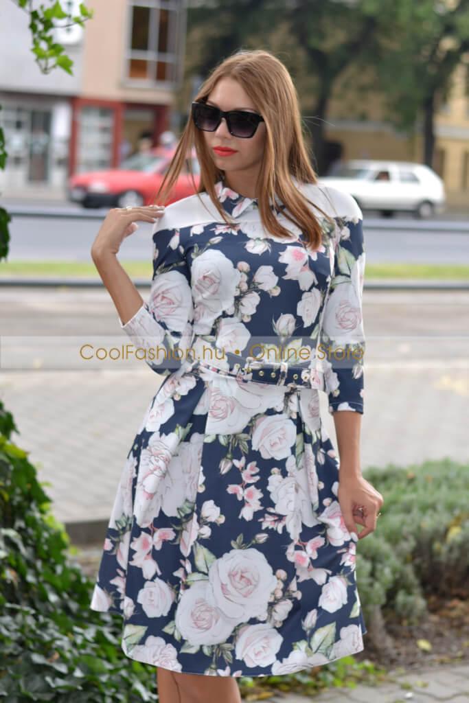 3476d149fa Rimini virágos kék loknis ruha - Cool Fashion