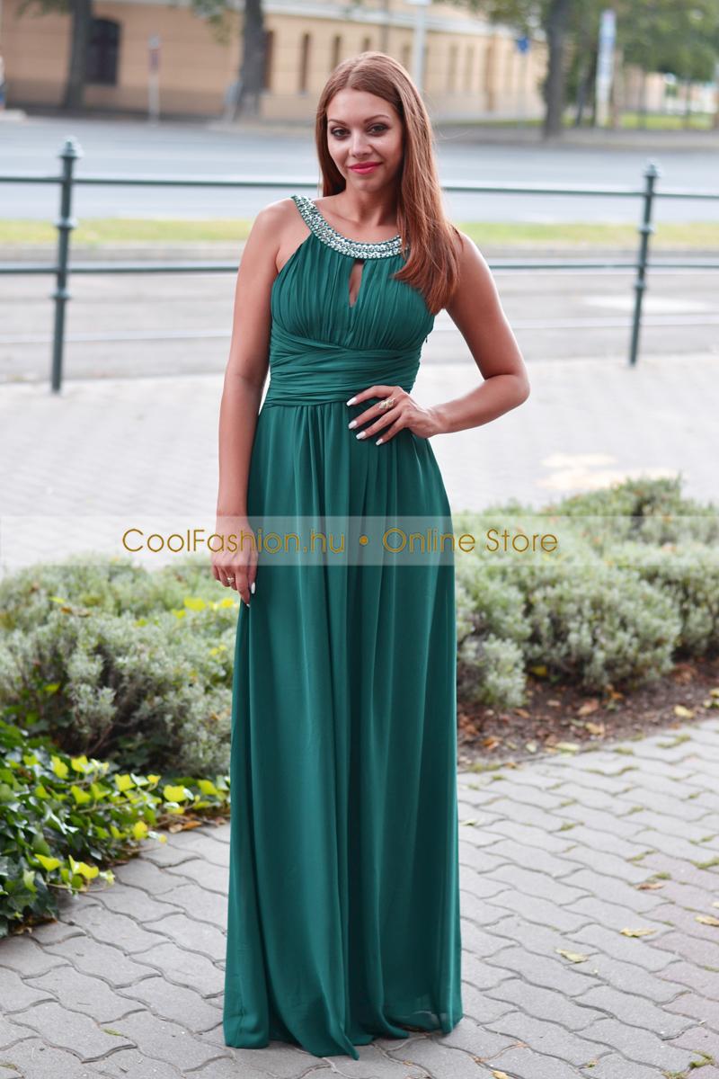 64b565bcd5 Köves muszlin méregzöld maxi ruha - Cool Fashion