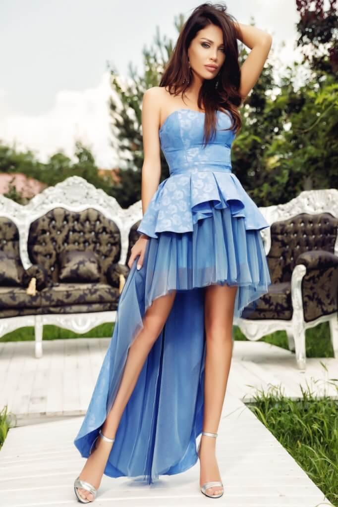 Baba kék elöl rövidebb hátul hosszabb ruha - Cool Fashion d7c08b2adc