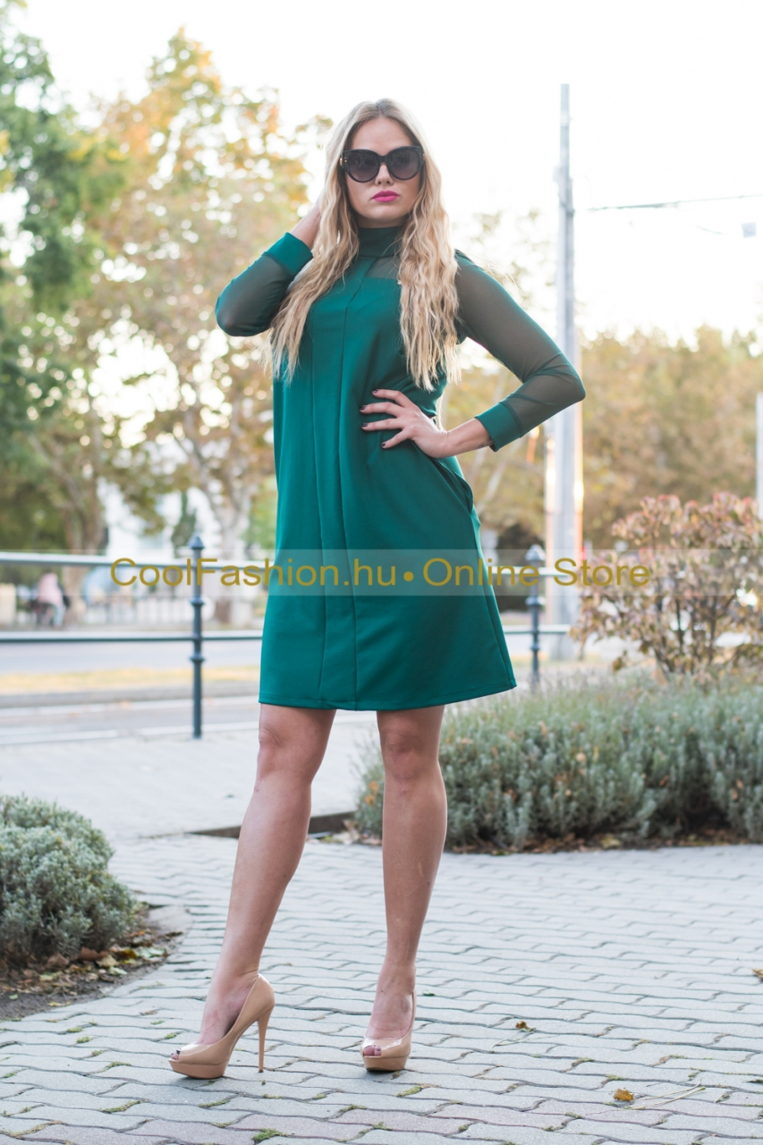 Debora zöld Avonalú ruha - Cool Fashion 111b8d220f