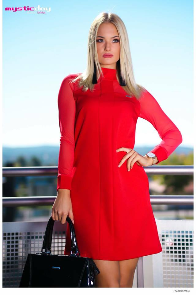 Debora piros A vonalú ruha - Cool Fashion ffc19fe045