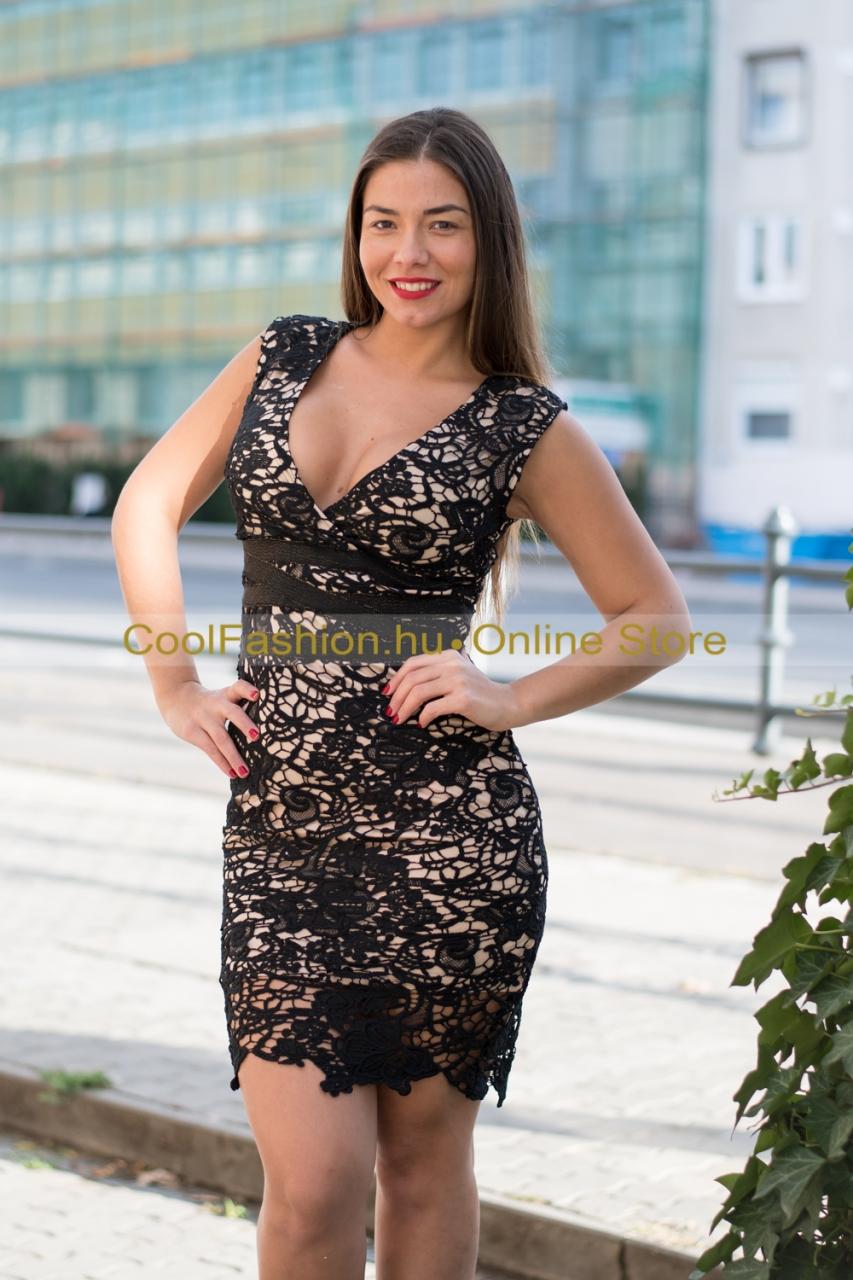 Fekete-drapp ujjatlan horgolt csipke ruha - Cool Fashion 0a45578cef