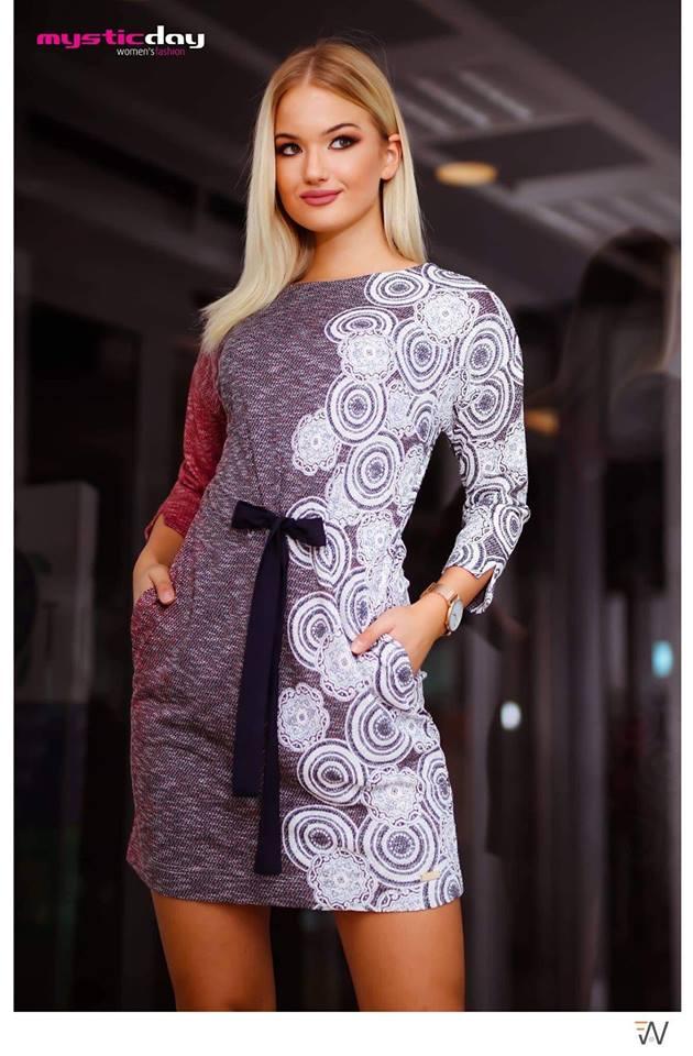 Alinda kötős mintás ruha - Cool Fashion a48bb13ab9