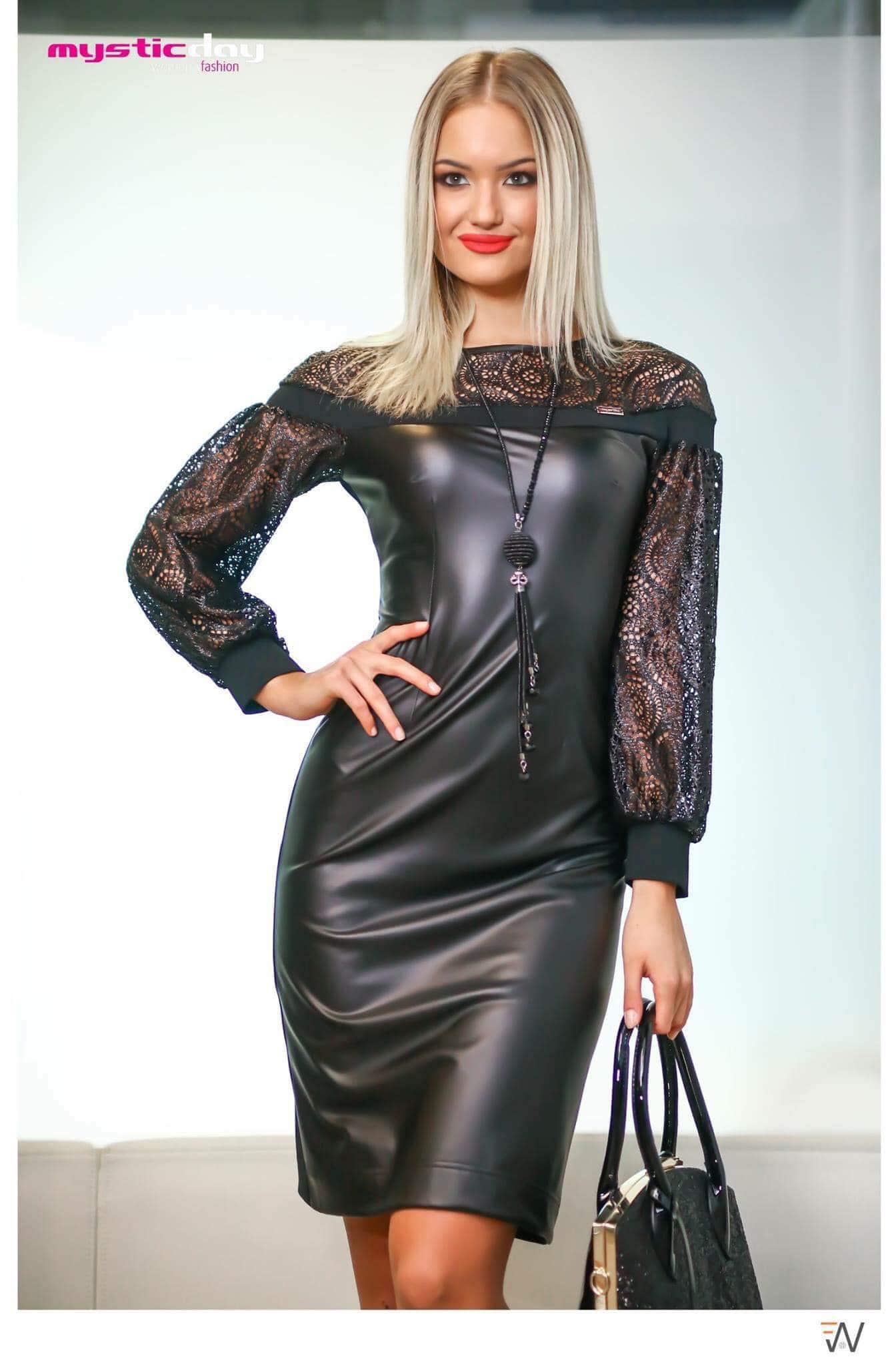 Anissza fekete buggyos ujjú műbőr ruha - Cool Fashion 02fcad3f4e