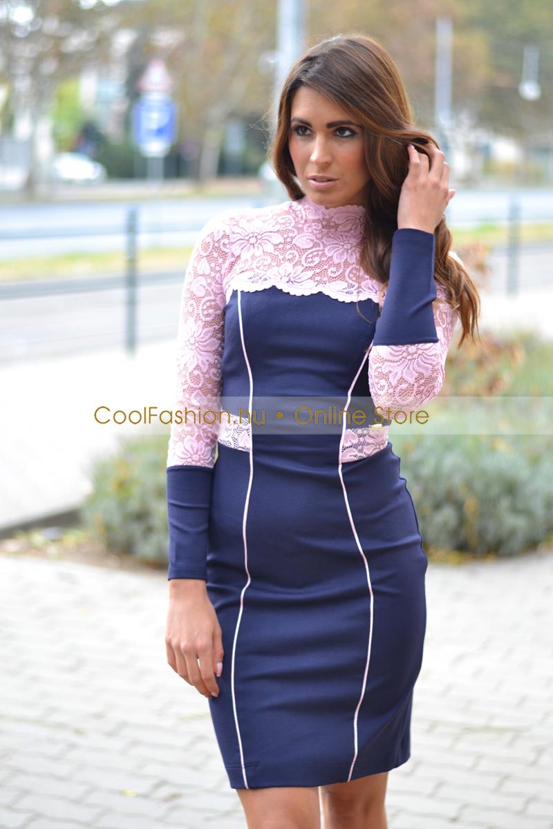 Arabella sötétkék rózsaszín csipkés ruha - Cool Fashion b99b55c511